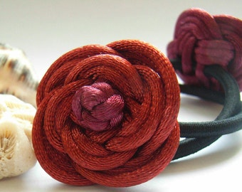 A pair of Rose Ponytail Holders, handmade by Chinese knot - Maroon and Rusty Brown