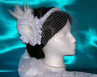 On Sale Birdcage Blusher Veil With Detachable Bridal Flower / Feather Fascinator