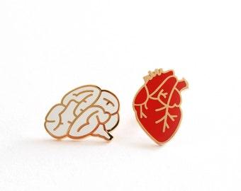 Pre Order! Heart & Brain Enamel Pins, Enamel Pin, Lapel Pin, Anatomical Heart, Heart Pin, Brain Pin, Hard Enamel Pin, Pin, Pins, Pin Badge