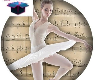 1 cabochon clear size 10 mm dance theme
