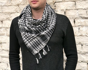 Blanket Scarf Plaid  / Mens Scarf / Cotton Scarf / Black and White Square Scarf / Plaid Scarf / Gift for Boyfriend / Best Men Gift