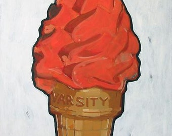 "Ice Cream Cone Original Painting . ""Ice Cream Cone (varsity)"" 36x24 in."