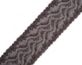 "Floral elastic stretch lace trim Brown bra lingerie lace fabric Scalloped edge lace trimming width 7.48"", 19 cm, lace per meter, Nr 1266"