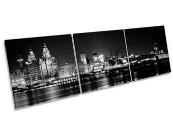 Liverpool City Skyline B&W CANVAS WALL ART Box Frame Picture Three Panel