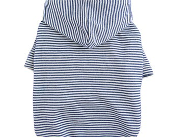 Navy Striped Double Layered Hood Dog Hoodie, Dog Clothing, Dog Apparel, for Small dogs Only