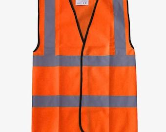 Orange Hi Vis Viz Vest High Visibility Reflective Safety Waistcoat Work Wear
