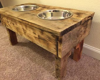 Elevated Dog Bowl Stand, reclaimed, pallet wood, pet food stand