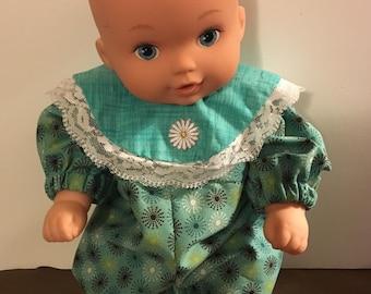 "Green Romper for medium Baby Doll. 11""-13"""