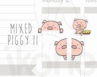 30 Cute Pig Stickers for planner - hide and seek kawaii piggy sticker sheet