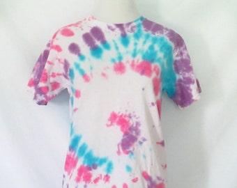 Vintage Tie Dye T-Shirt Swirled Tie Dyed Shirt Pink Blue Purple Handmade Tie Dye Cotton T-Shirt