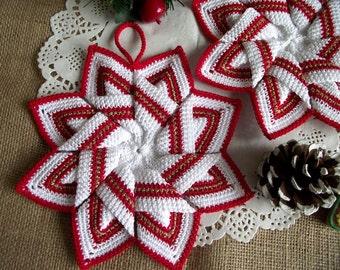 CROCHET PATTERN Pot Holder Christmas Pot Holder Crochet Tea Pot Holder Kitchen Star Crochet Pot Holder pdf pattern Instant Download