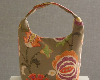Large Insulated Lunch Bag,Women Lunch Bag, Large Work Lunch Tote,Insulated Work Lunch Bag,Reusable Lunch Bag, Whimsical Flowers on Brown