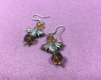 Bumblebee Amber Drops - Earrings