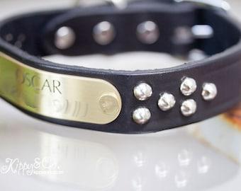 Leather Studded Dog Collar, Black Leather Studded Dog Collar, Personalized Leather Dog Collar, Silver Name Plate Dog Collar