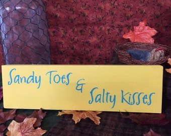 Sandy Toes and Salty Kisses, primitive, country, wood sign sayings, craft, distressed, chalk paint