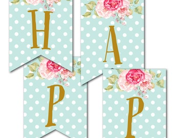 Polka Dots and Flowers Happy Birthday Banner, Instant Download, Print Your Own