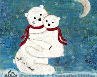 Kids Art Print of Mother w/ Baby Polar Bears Painting - Girls Room Kid Wall Art Prints - Baby Nursery, Child & Teen Decor - BEAR HUGS by TLW