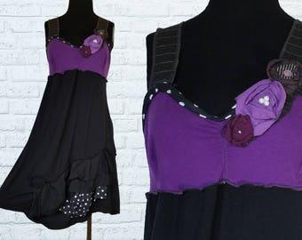Summer Dress M/L Medium Large Floral Embellished Flower Black White Purple Gray