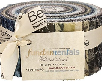 "Benartex ""Fundamentals"" by Michele Dotmore, Roll Up, Jelly Roll, 40 Fabric Strips, Fabric Bundle, Rolie Polie"