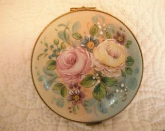 Vintage Hand Painted Porcelain Flower Limoges Box Made in France