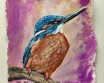 Kingfisher Bird Acrylic Painting on watercolor paper, Acrylic art,  Woodland animal art, Wildlife art, Bird art, Wall art on canvas