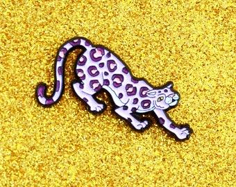 Lavender Jaguar Lapel Pin - Wild Cat Pink Enamel Pin - Jungle Cat Panther Cheetah Lilac Pastel Purple Cat Enamel Lapel Pin