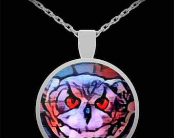 Owl Pendant Necklace Stained Glass Inspired