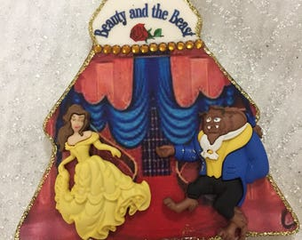 Beauty and the Beast 3D Personalized Christmas tree ornament