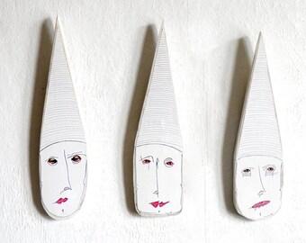 Wall Mask (set of 3), Mixed media wall mask, Original wall mask, Wall art mask, Wood  Wall Art, Wall hanger art, wooden mask, art mask