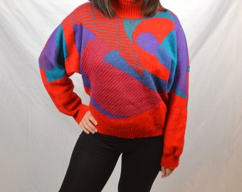 Vintage 80s Demetre Cropped Rainbow Swirl Ski Sweater