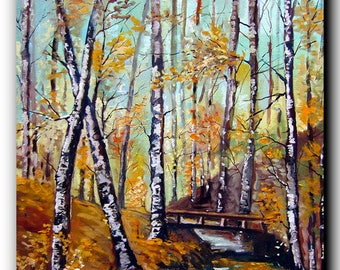 painting landscape, orange, yellow, beige oil painting, colors fall, modern, contemporary of Woods in autumn, large size