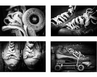 Set of Four Vintage Roller Skate Photographs - Black and White Skate Prints - Retro Sports Photo Collection - Sporting Art - Roller Disco