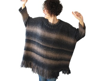 NEW! Fringed Anthracite - Beige Sweater