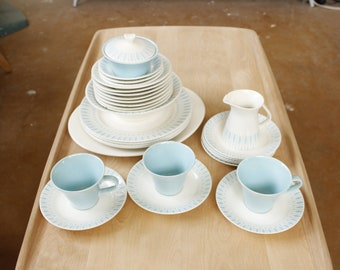 1950s Dinnerware Set- Plates- Bowls- Creamer- Sugar Bowl- Teacups- Blue and White- Mid Century- Atomic