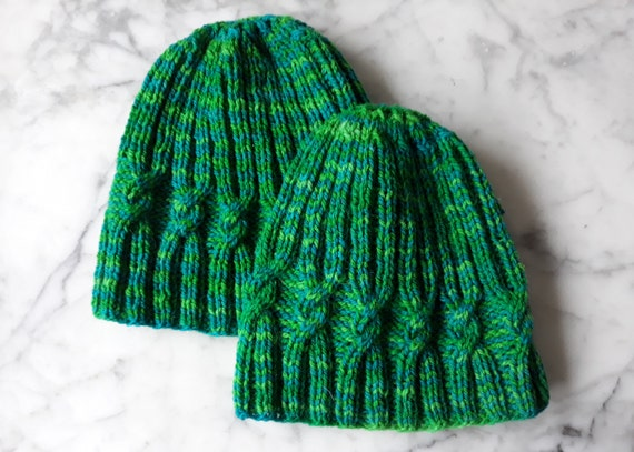 Wool knit hat: cable knit beanie in green striped wool. Made in Ireland. Handknit beanie. Original design. Beanie for him. Beanie for her.