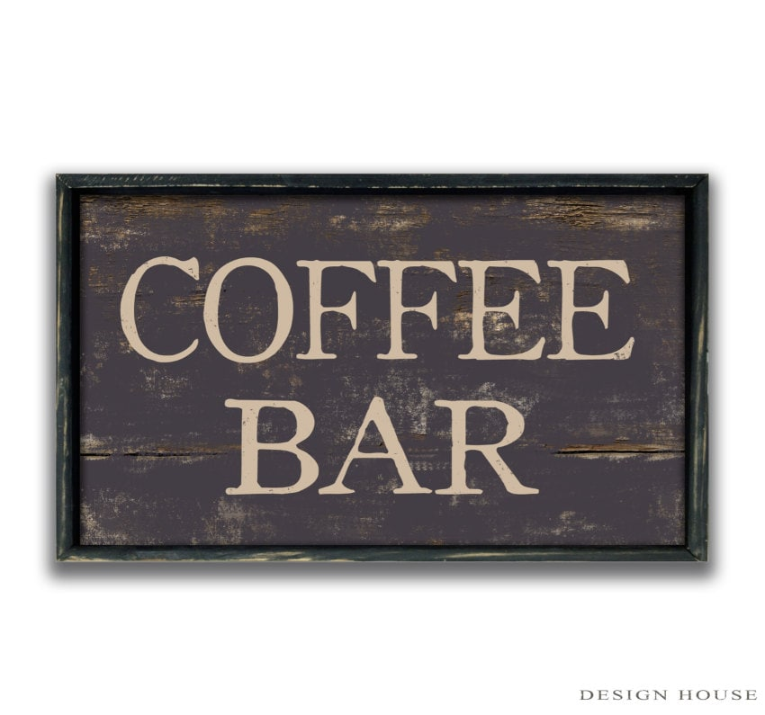Handmade wood coffee bar sign business signs coffee shop signs for Store sign letters