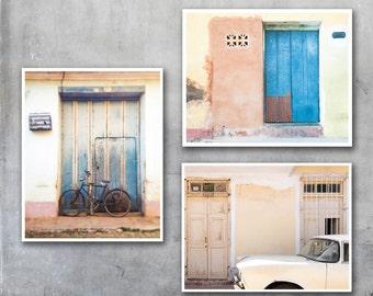 Cuba travel photography print set Trinidad Cuban decor wall art set of three vintage car house street photography photo print poster