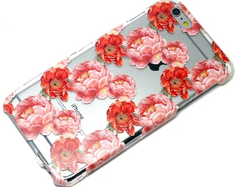 Red Pink Peony Floral Pattern Style Transparent Clear Phone Case iPhone 6, 7, SE, 6 Plus, 7 Plus, 6S, 5,  5S, Galaxy S6, S7, Note 5, Note 7