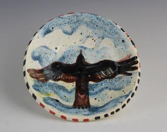 Raven Dish, Soaring in Clouds, Crow, Blackbird Ceramic Art Pottery by Arizona Clay Artist, Karlene Voepel