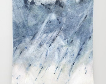 """Wall tapestry with fine art print Abstract watercolor painting Ombre in deep medium light blue, white. from my """"Weather Explorations"""" series"""