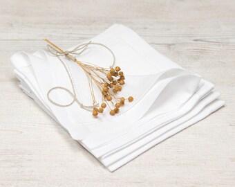 100% Linen Hemstitched Napkins, Wedding Napkins,White Color, Softened Linen Fabric, Dining Room Linens,  6 pcs