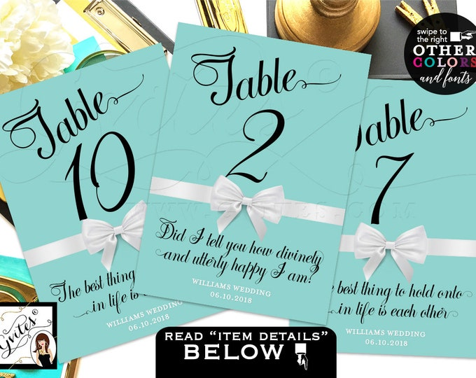 Breakfast at Table Numbers, Party Theme, table numbers Audrey Hepburn quotes or personal text, wedding, bridal shower, birthday, 4x6 or 5x7