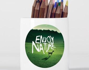 Enjoy Nature Inspirational Motivational Sheep Landscape Grass Pencil Holder, Pen Pot, Pen Holder, Gift Idea, Children Gift, PP075