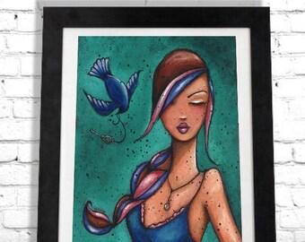 Woman Bird Print, Bohemian Decor, Trending Now, Colorful Girl Art, Boho Chic, Wall Hanging, Elegant Artwork, Gypsy Style, Free Spirit Shano