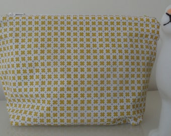 Pouch/case grey and mustard geometric pattern
