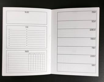 WEEKLY + HABIT B6 TN Insert // Printed Planner Traveler's Notebook 6 Months