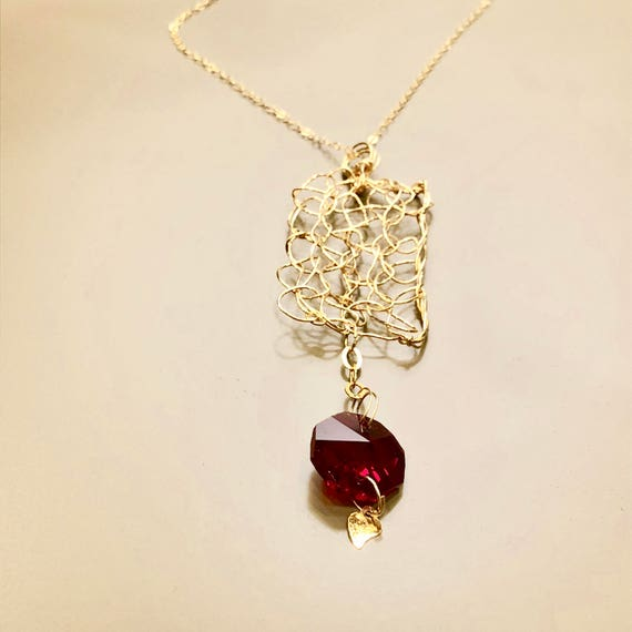 SJC10227 - Necklace - gold filled wire crochet rectangular pendant with red chandelier crystal hexagonal prism and gold plated heart