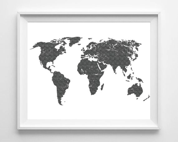 World map print printable black white wall art 11x14