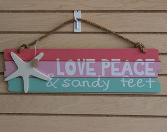 """Southern Crafty, """"Love, Peace & Sandy Feet"""" wall hanging with Starfish cut out"""