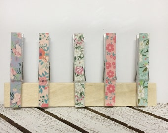 Floral Decorated Clothespins, floral washi tape decorated clothespin clips, magnetic clothespins, fridge magnets, magnets with clips